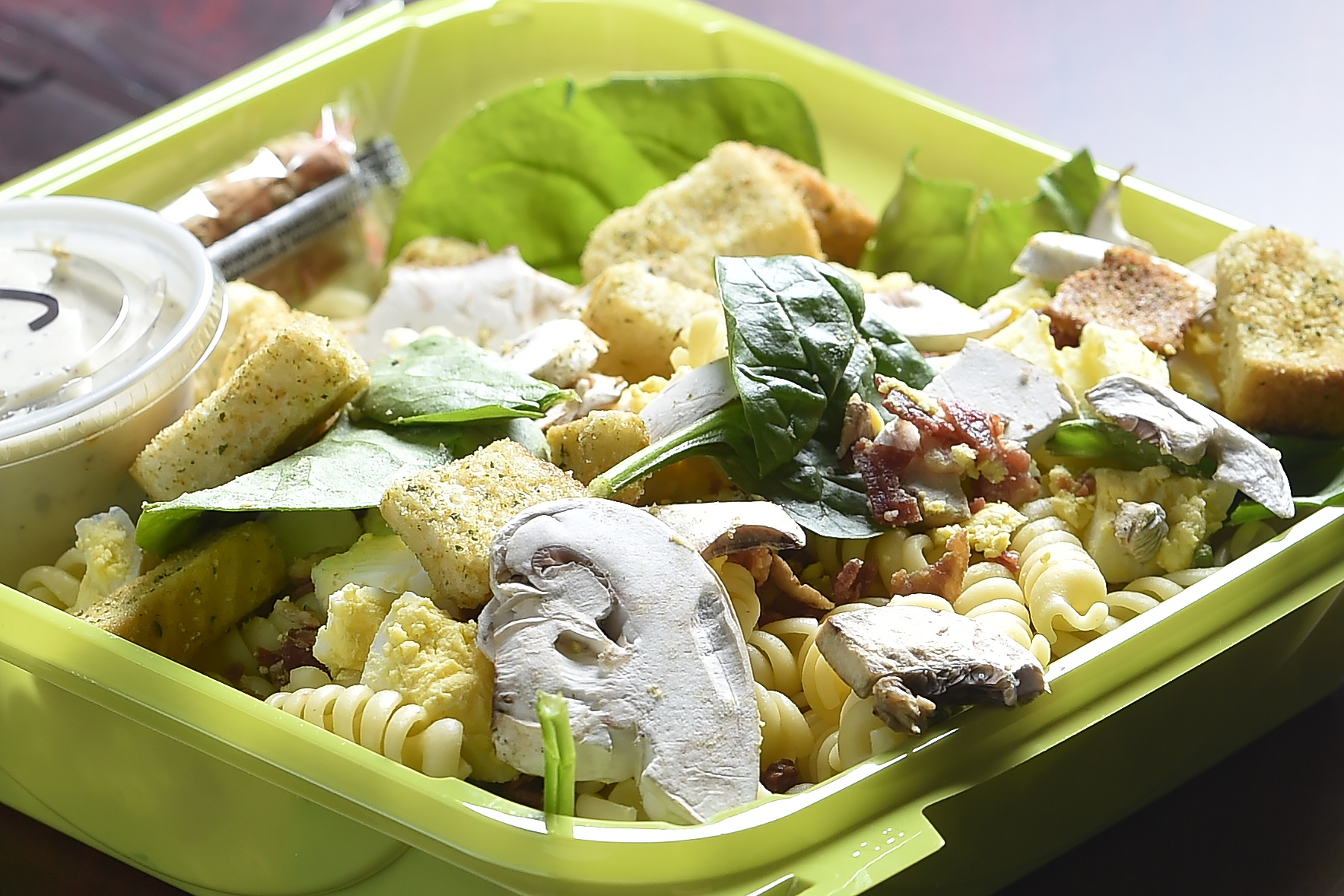 Spinach and Caesar Pasta Salad